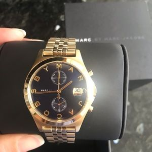Marc by Marc Jacobs gold & navy blue face watch